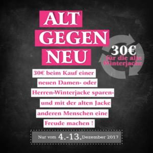 Alt gegen Neu: 30 Euro für die alte Winterjacke